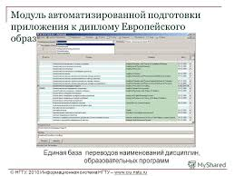 Презентация на тему Информационная поддержка реализации  24 Модуль автоматизированной подготовки приложения к диплому Европейского образца