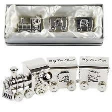 my first tooth curl train carriage silver plated new baby christening gift