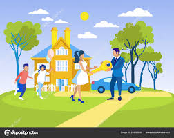 New Home Cartoon Images Family Buying Or Renting New Home Flat Cartoon Stock