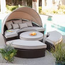 if it s too sunny you can use the canopy to cover yourself for shade the furniture has olefin fabric it is resistant to water fading odor bacteria
