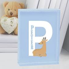 new baby boy letter personalised deer crystal keepsake christening naming day present