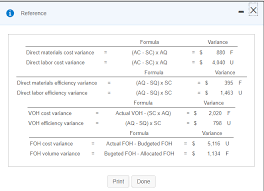 Variance Formula Solved Reference Formula Ac Sc X Aq Ac Sc X Aq Va