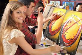 follow along as the instructor leads an interactive painting class at painting with a twist photo courtesy of painting with a twist