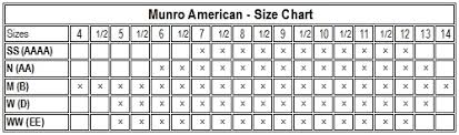 shoe size chart width munro shoes lowest prices largest selection free shipping and