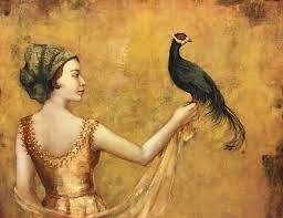 "Lot - Claudette, ""Bird in Hand"", 45 x 53 inches"