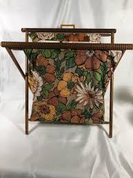 vintage knitting stand up barkcloth bag folding wood frame sewing crochet basket