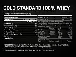 optimum nutrition gold standard 100 whey french vanilla creme nutrition information