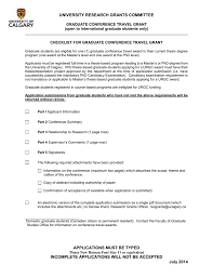Checklist For Faculty Conference Travel Grant