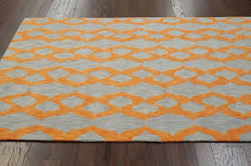 modern contemporary blue grey yellow orange hand hooked area rug carpet cotton