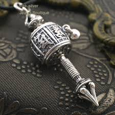 details about 925 sterling silver om mani padme hum spinning prayer wheel pendant men a2412