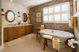 view in gallery a wonderful blend of modern and traditional styles in the bathroom with stone wall design