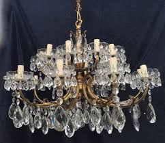 pair of large italian brass crystal chandeliers c 1900