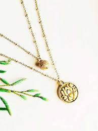 double layer cz pendant gold plated chain necklace