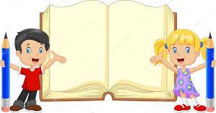 Kreslené děti s knihy a tužky - FotoTapeta12