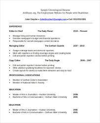 Chronological Resume Te Spectacular Resume Chronological Template