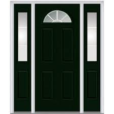 mmi door 60 in x 80 in internal grilles left hand inswing 1 4 lite clear painted steel prehung front door with sidelites z005349l the home depot