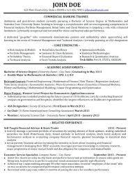 Sample Resume For Bank