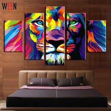 diy framed lion king animal abstract print canvas painting wall inside lion king canvas wall art