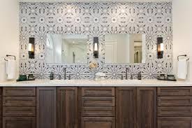 ann sacks lux tile balances dark wood double vanity in master bathroom