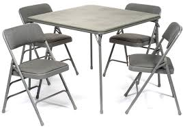 5pc XL Series Folding Card Table and Fabric Padded Chair Set, Gray - FoldingChairsandTables.com