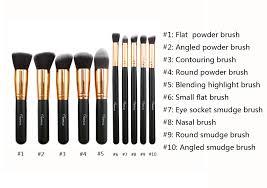 2016 new 10pcs gold black basic brushes makeup essential brush kit cosmetic set xams gift hot