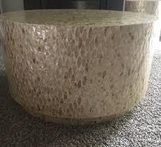 pier 1 capiz round drum coffee table accent table