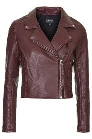 top burdy textured faux leather biker jacket with zip pockets and anthracite trims 100 polyurethane
