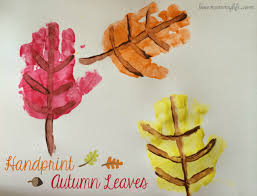 Handprint Autumn Leaves fall painting craft art leaves by Dasas