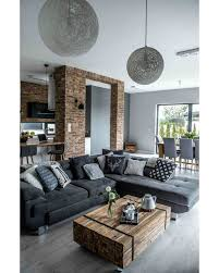Large Sectional With Large Hanging, Pendant Lights