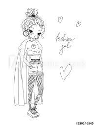 Vector Fashion Girl Linear Illustration Black And White Fashion