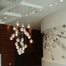 floating bubble chandelier with wall decorating also recessed lighting for beauty home interior