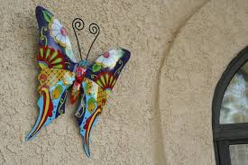 butterfly metal wall art garden mexican talavera style colorful within most recently released mexican metal yard on talavera style wall art with gallery of mexican metal yard wall art view 7 of 30 photos