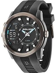 amazon co uk police watches police men s quartz watch black dial analogue digital display and black rubber strap 14249jpbu 02