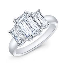 18k white gold 3 stone emerald cut diamond ring by aria a designs