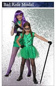 womens joker and girls riddler costume duo