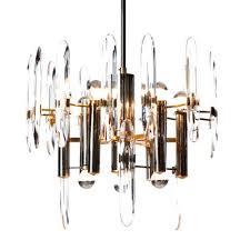 mid century nine light chrome brass crystal glass chandelier by gaetano
