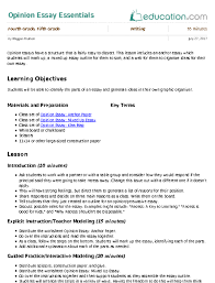 opinion essay essentials lesson plan com