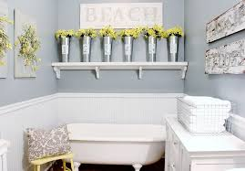 ... Bathroom, Terrific Bath Decorating Ideas Bathroom Wall Decorations  White And Blue Bathroom Wall With Flowers ...