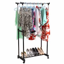 2019 double clothing racks hanger furniture folding clothes rail hanging garment dress on wheels with shoe rack us6 from tanzhilian 28 27 dhgate com