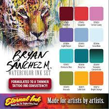Eternal Ink Color Chart Bryan Sanchez M Watercolor Ink Set Eternal Tattoo Ink