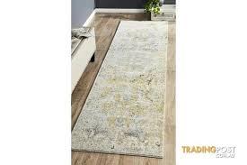 hazel yellow grey durable vintage look runner rug 400x80cm