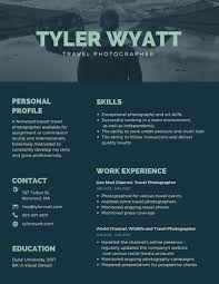 Dark Blue Travel Photographer Creative Resume Templates By Canva