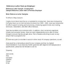 Employer Recommendation Letter Sample Employment Reference Letter Template Sample