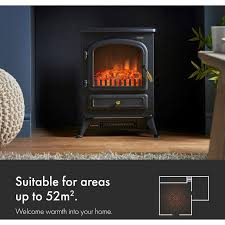 vonhaus electric stove heater with log burner flame effect 1850w black freestanding fireplace with wood burning led light