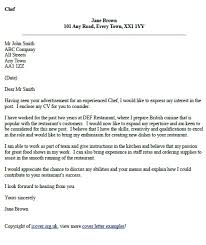 Cover Letters For Chefs All About Letter Examples