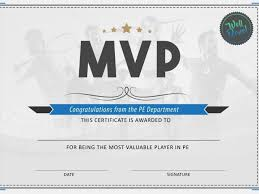 Pe Physical Education Mvp Certificate By Ca1993 Teaching