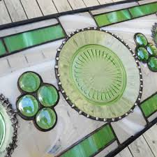 stained glass transom window antique depression glass stained glass panel aurora pattern in green