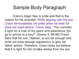 antigone essay ppt video online  14 sample body paragraph creon s tragic flaw