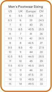 Tritak Sports Tritak Sports Nike Foot Sizing Chart