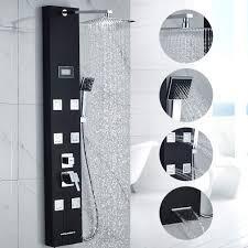 Duschpaneel Schwarz Obeeonr Duschsystem 6 Massagendüsen 8 Inch Duschkopf Duschpaneele Edelstahl Regendusche Mit Handbrause Lcd Temperatur Display